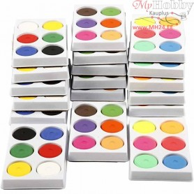 Watercolour In Palette, D: 44 mm, H: 16 mm, 18trays