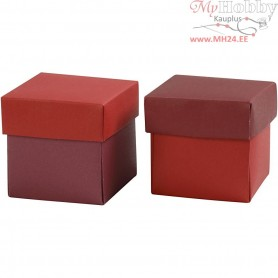Folding box, size 5,5x5,5 cm,  250 g, red/claret, 10pcs