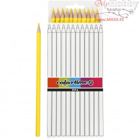 Colortime colouring pencils, lead: 3 mm, L: 17 cm, yellow, basic, 12pcs
