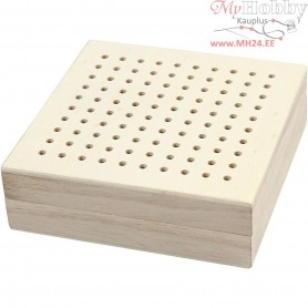 Embroidery Box, size 10x10 cm, H: 3,2 cm, empress wood, 1pc