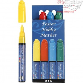 Poster Hobby Marker, line width: 3 mm, blue, green, yellow, red, 4pcs