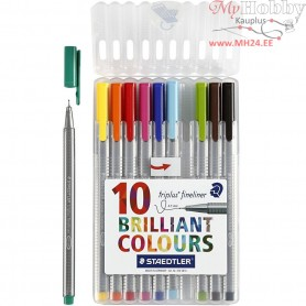 TriplusĀ® fineliner marker, line width: 0,3 mm, asstd colours, triangular, 10pcs