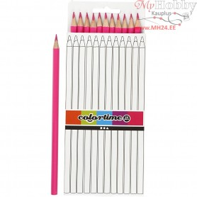 Colortime colouring pencils, lead: 3 mm, L: 17 cm, pink, basic, 12pcs