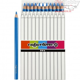 Colortime colouring pencils, lead: 5 mm, blue, Jumbo, 12pcs