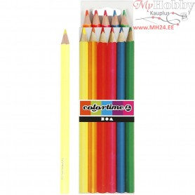 Colortime colouring pencils, lead: 4 mm, neon colours, 6pcs
