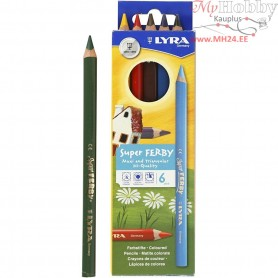 Super Ferby 1 colouring pencils, lead: 6,25 mm, L: 18 cm, asstd colours, 6ass.