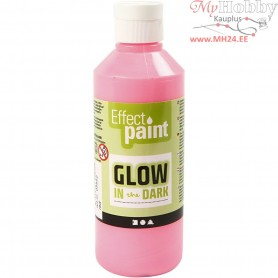 Glow in the Dark Paint, fluorescent light red, 250ml
