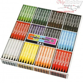 Colortime Wax Crayons, thickness 11 mm, L: 10 cm, asstd colours, 288pcs