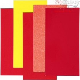 Color Dekor, sheet 10x20 cm, red/orange/yellow, 5asstd. sheets