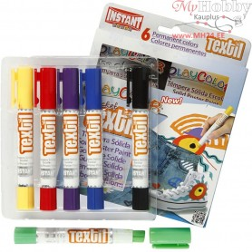 Playcolor Textile Marker, L: 14 cm, D: 15 mm, asstd. colours, 6pcs