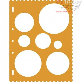 Shape Template, D: 28+40+53+66+79+91+130 mm, sheet 23x30,5 cm, Circles, 1pc