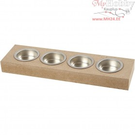 Tea Light Candle Holder, size 25x7 cm, H: 2,5 cm, MDF, 1pc