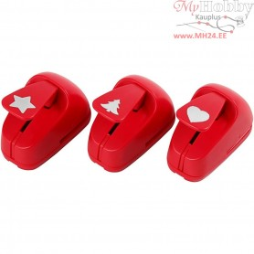 Paper Punches, size 16 mm, red, star, heart, christmas tree, 1set