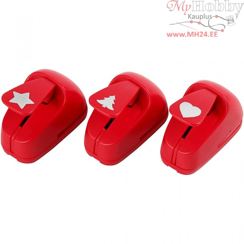6890aed356c Paper Punches, size 16 mm, red, star, heart, christmas tree, 1set