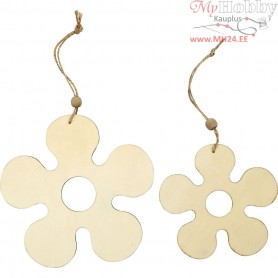 Wooden Ornament, flower, D: 12,3+16,5 cm, thickness 5 mm, 2pcs