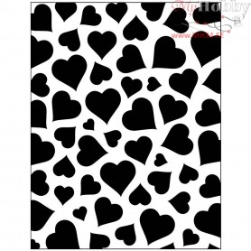 Embossing Folder, size 11x14 cm, thickness 2 mm, heart, 1pc