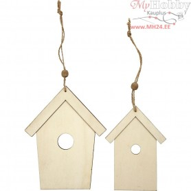 Wooden Ornament, bird house, H: 13+17,5 cm, thickness 5 mm, 2pcs