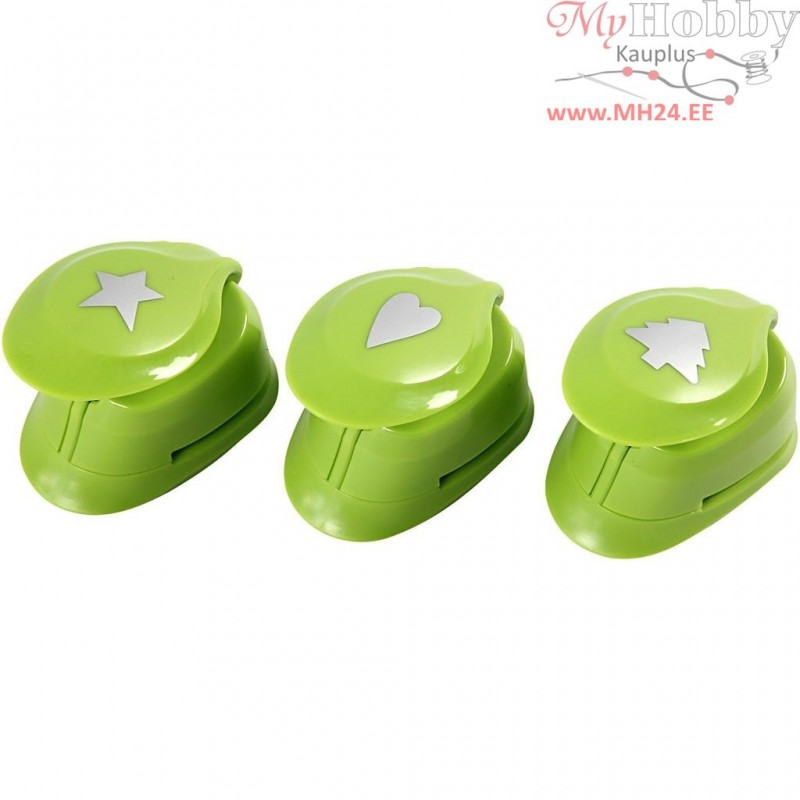 489d39d49f3 Paper Punches, size 25 mm, christmas tree, heart, star, 3mixed