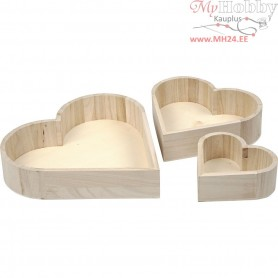 Heart Bowls, H: 13-25 cm, depth 5-5,2 cm, empress wood, 3pcs