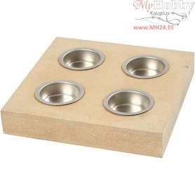 Tea Light Candle Holder, size 16,5x16,5 cm, hole size 40 mm, MDF, 1pc