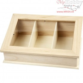Box with Glass, size 30,5x20 cm, depth 11,5 cm, empress wood, 1pc