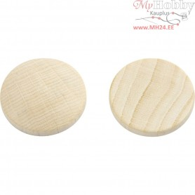 Wooden buttons, D: 25 mm, thickness 5 mm, china berry, 150pcs