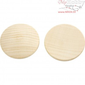 Wooden buttons, D: 40 mm, thickness 5,2 mm, china berry, 100pcs