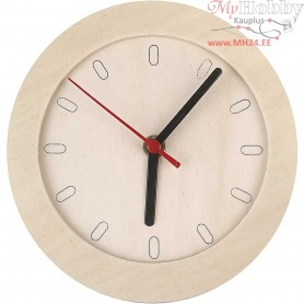 Watch With Wooden Frame, D: 15 cm, plywood, 1pc