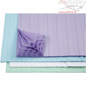 Honeycomb paper, sheet 28x17,8 cm, light blue, green, white, purple, 8asstd. sheets