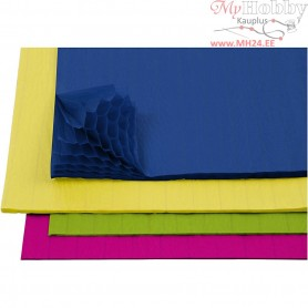 Honeycomb paper, sheet 28x17,8 cm, asstd colours, 8asstd. sheets