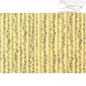 Card with print, A4 210x297 mm,  180 g, music notes, 10sheets