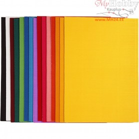 Corrugated Card, sheet 25x35 cm,  80 g, 15asstd. sheets