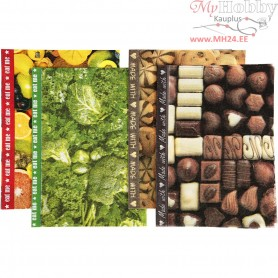 Decoupage Paper, sheet 25x35 cm,  17 g, food, 8asstd. sheets