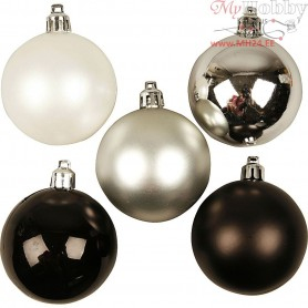 Christmas Ornaments, D: 6 cm, black harmony, 20pcs