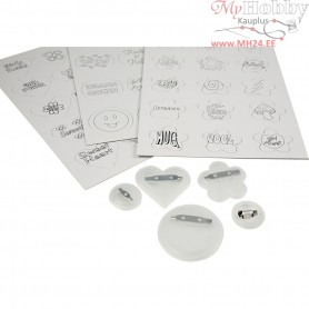 Badges with Drawing Templates, D: 2+4 cm, 100pcs