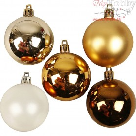 Christmas Ornaments, D: 6 cm, golden harmony, 20pcs