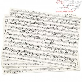 Kraft Paper with print, A4 210x297 mm,  100 g, music notes, 10sheets