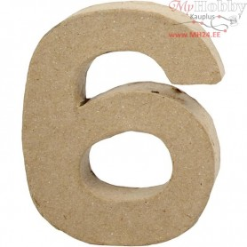 Number, 6, H: 10 cm, thickness 1,7 cm, 1pc, W: 8,2 cm