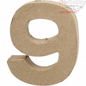 Number, 9, H: 10 cm, thickness 1,7 cm, 1pc, W: 8,5 cm