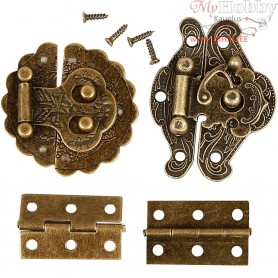Mini Fittings, size 30-35 mm, antique gold, 30sets