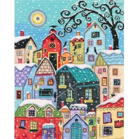 RTO Quiet snow falls on roofs - Counted Cross Stitch Kit, Art: M654