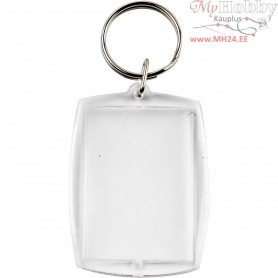 Key Rings, Rectangular, size 40x50 mm, hole size 32x46 mm, 25pcs