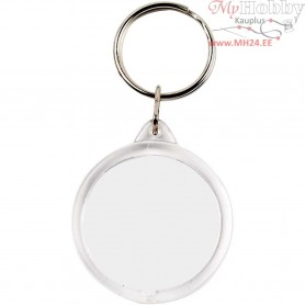 Key Rings, Round, D: 40 mm, 25pcs