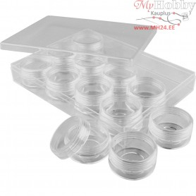 Storage Containers, H: 20 mm, D: 35 mm, 12pcs, 10 ml