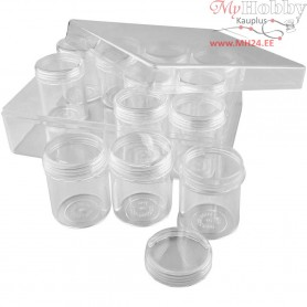 Storage Containers, H: 47 mm, D: 37 mm, 12pcs, 35 ml