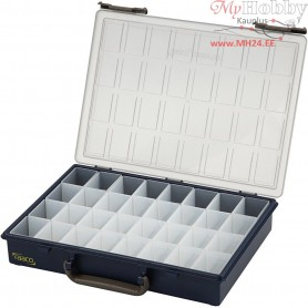 Storage Box, size 33.8x26.1 cm, H: 5.7 cm, with 32 Removable Insert Boxes, 1pc, hole size 3.9x5.5x4.7 cm