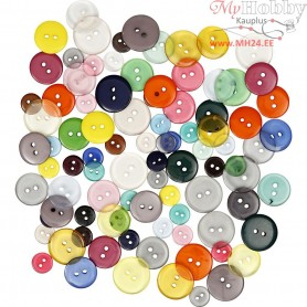 Button Mix, D: 12+18+20 mm,  100 g, asstd colours, 100pcs