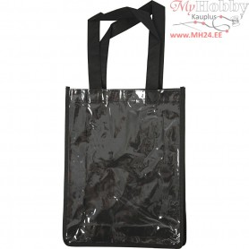 Bag with Plastic Front, size 30x23x7 cm, black, 1pc
