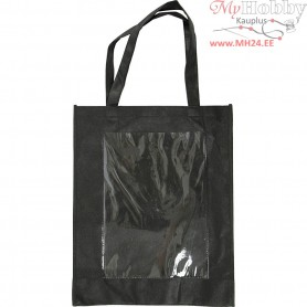 Bag with Plastic Front, size 42x34x12 cm, black, 1pc