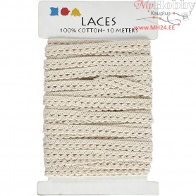 Crochet Lace Border , W: 10 mm, off-white, 10m